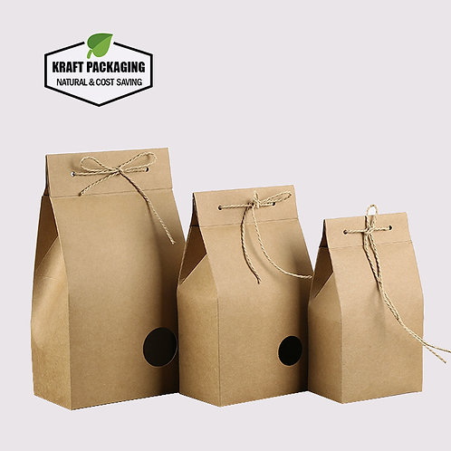 Brown Kraft Paper Gift Boxes Tea Packaging with Rope Closure