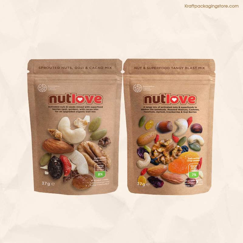 Customize printing on brown Kraft pouches