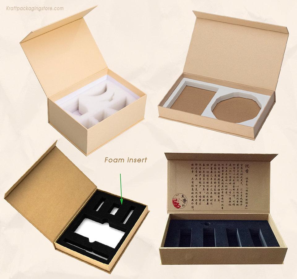 Custom magnetic gift boxes kraft with foam insert