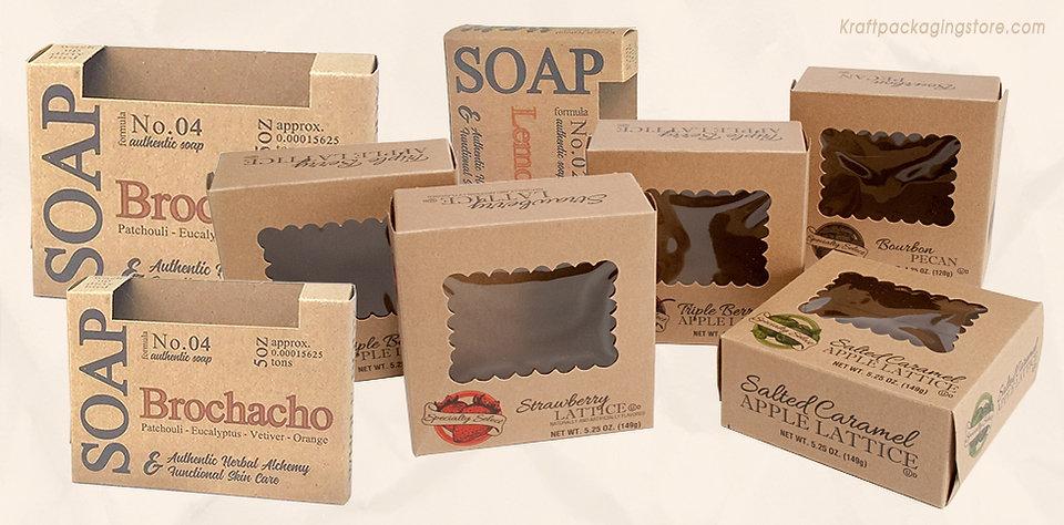 kraft soap box with window custom printed