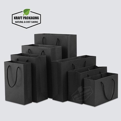 Black Kraft paper gift bags with nylon rope handles