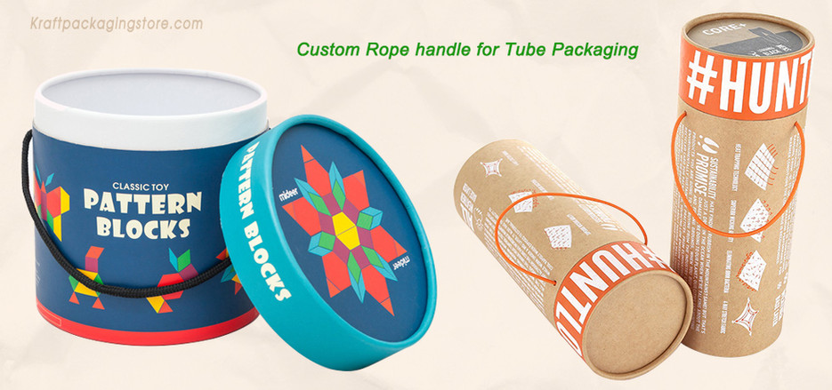 Custom rope handle for paper cardboard tubes