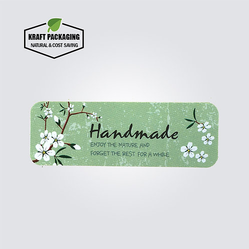 White flower printed Handmade green decoration sticker labels