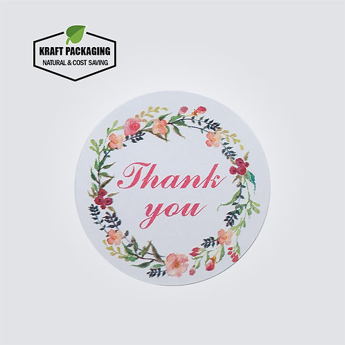 Colorful flower printed white round Thank You sticker label