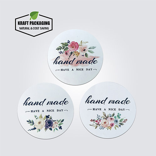White round sticker with flower printed hand made have a nice day label