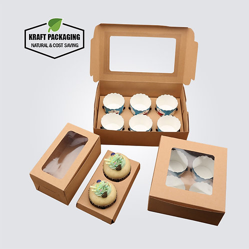 Brown Kraft Muffin Cupcake Boxes with Insert and Clear Window