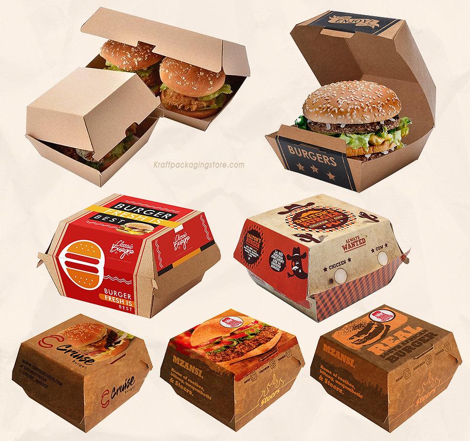 Custom printed Kraft burger boxes