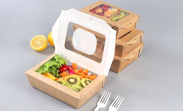Kraft salad container boxes with window