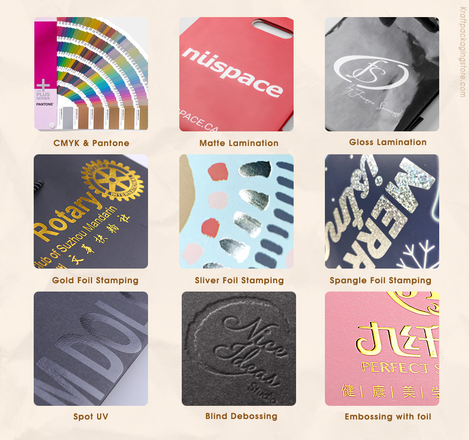 Printing and finish for custom printed paper bags