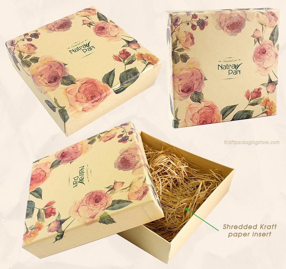Kraft custom rigid top bottom gift box with shredded paper insert