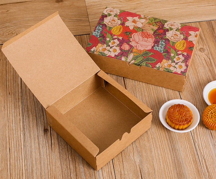One-piece Color printed Kraft paper gift boxes for cakes
