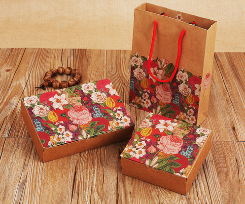 One-piece Color printed Kraft paper gift boxes with paper bag