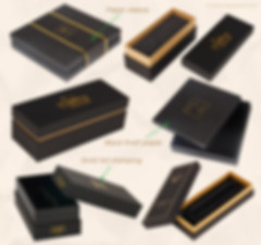 Custom black Kraft rigid telescope gift boxes with gold foil stamping logo
