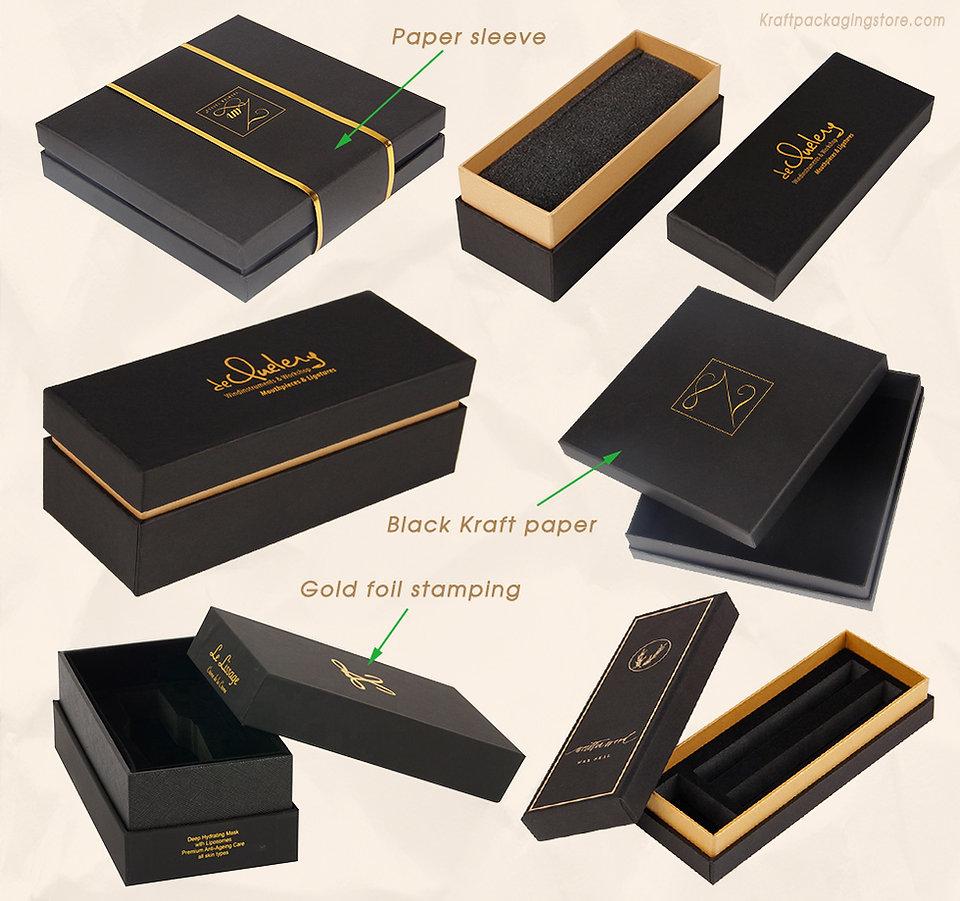 Custom black Kraft rigid telescope gift boxes with gold foil stamping logo