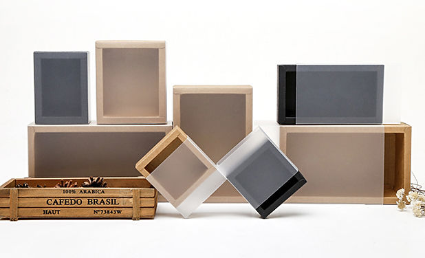 Kraft slide drawer box with visible dull sleeve