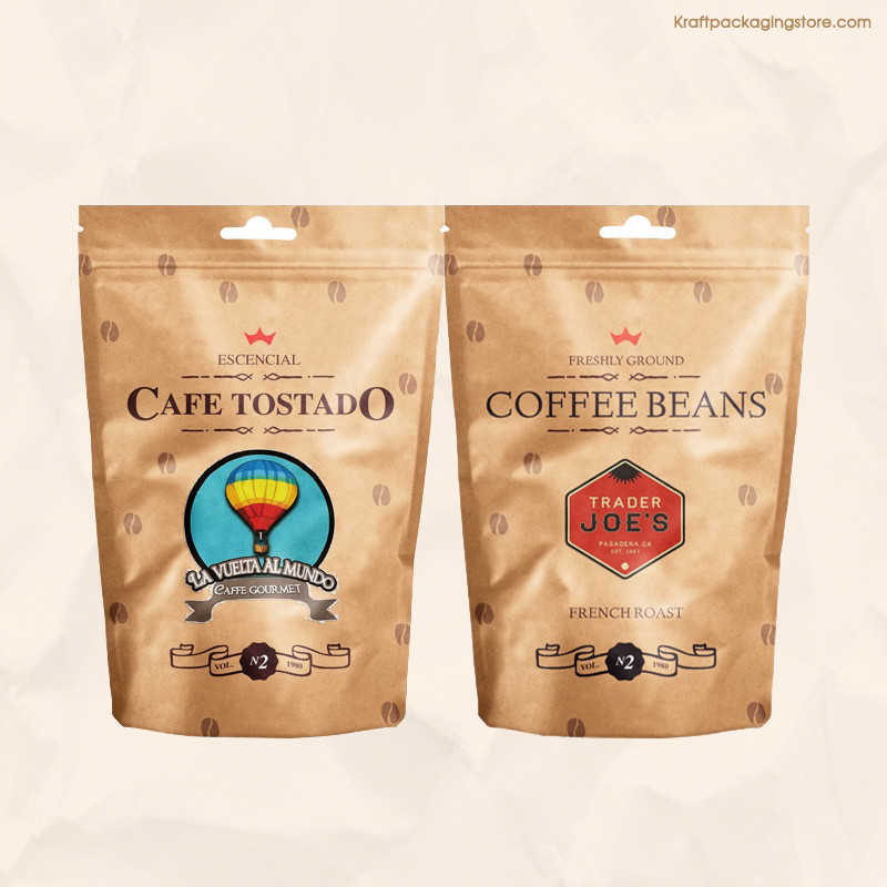 Brown kraft zipper pouch bags with full color printing