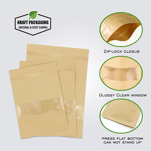 CAN'T Stand - Flat bottom Kraft paper zipper pouch bag with clear window
