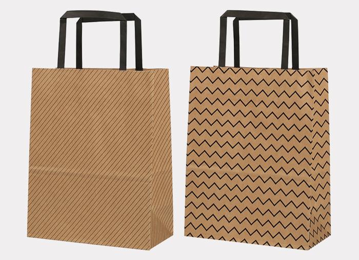Handle brown Kraft paper gift bags printed in black wavy stripe line pattern wholesale