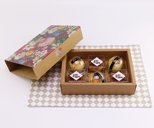 Kraft paper drawer style gift boxes for egg yolk puff packaging