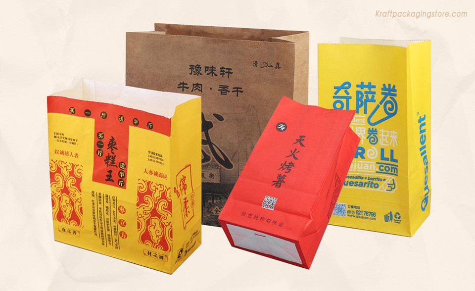 Custom printed Kraft SOS Grocery Bags.jp