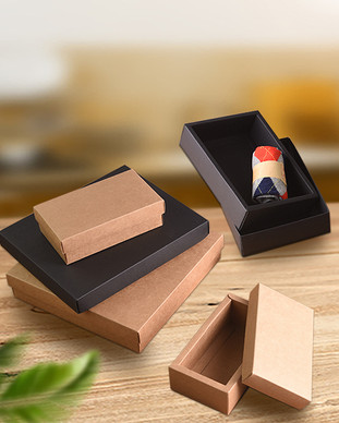 Kraft paper lift-off lid top bottom tray boxes