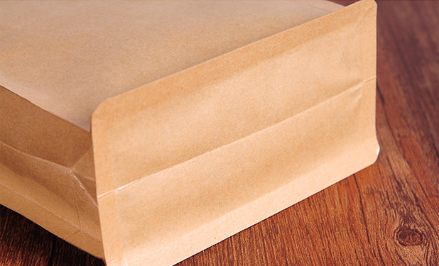eight side stand kraft paper pouch with flat base