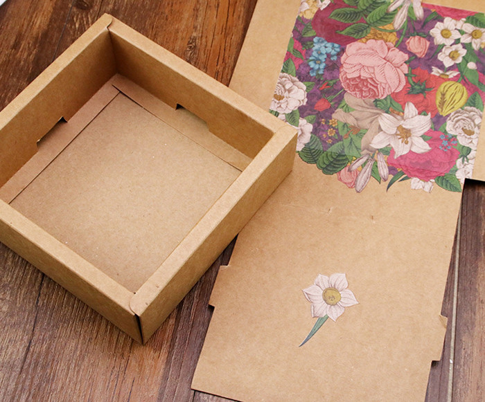Color printed two piece flip style Kraft paper gift boxes packaging