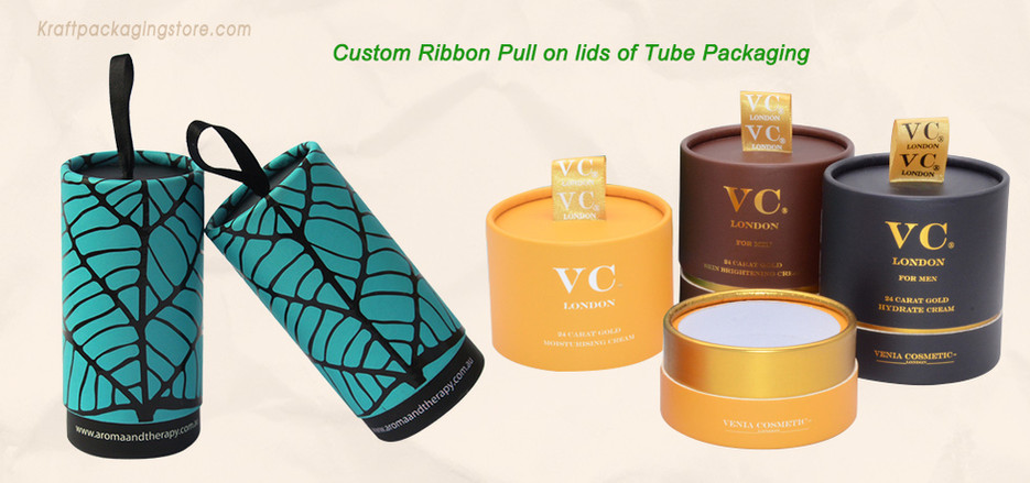 Custom ribbon pull for cardboard tube packaging
