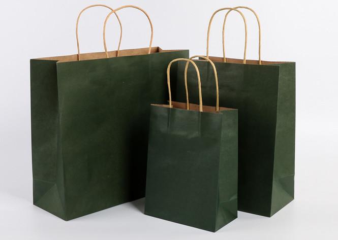 Dark Green color kraft paper bags with handle