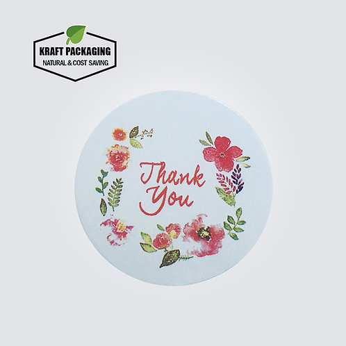 Colorful flower printed white round Thank You sticker label for box bags