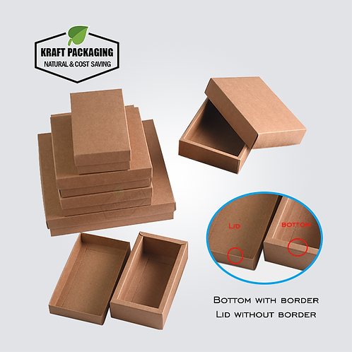 Brown Kraft boxes with lid has a wide border on bottom base