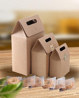 Kraft paper cookie packaging box with ha