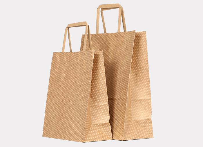 White ink printed stripe pattern on brown Kraft gift bags with flat paper handles
