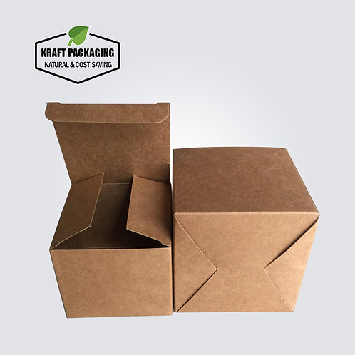 Medium kraft paper folding gift box with tuck top  and snap-lock bottom
