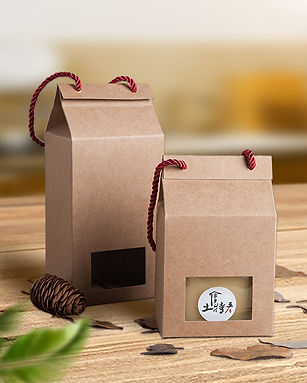 Kraft paper gift box with rope handle and clear window