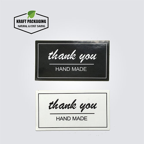 Black and white handmade sticker labels for box bag packaging