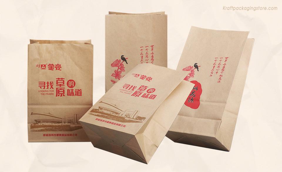 Custom printing brown kraft bakery bags
