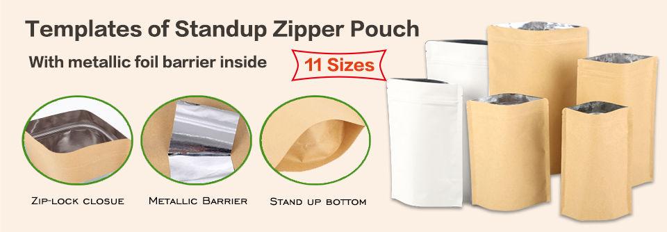 Templates of standup kraft zipper pouches bag with metallic foil barrier