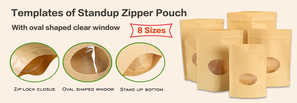 Stand up kraft zipper pouches bag with oval window templates