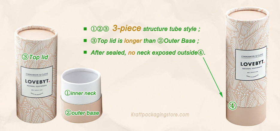 3 pieces long cap lid style paper tubes