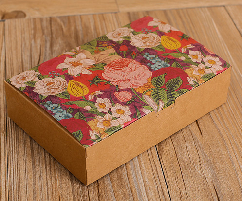 Large Size Color flower printed Kraft paper gift boxes and bag for cakes