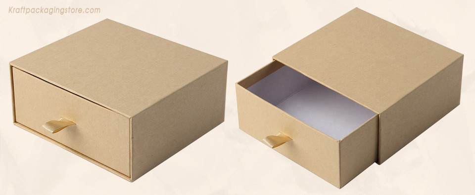 Brown Kraft slide rigid drawer gift boxes