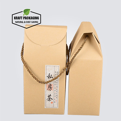 Triangle Top Kraft Packaging Gift Boxes with A Rope Carry Handle