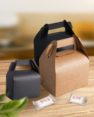 Gable top handle Kraft paper candy gift boxes