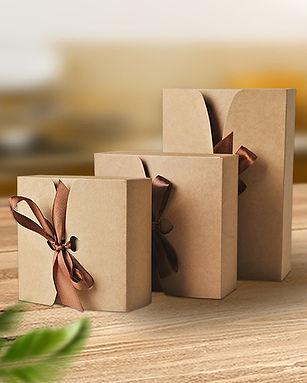 Silk ribbon closure kraft gift boxes