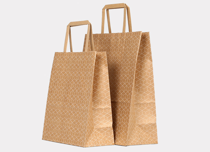 Wholesale white cube pattern printed brown Kraft gift bags with paper handles