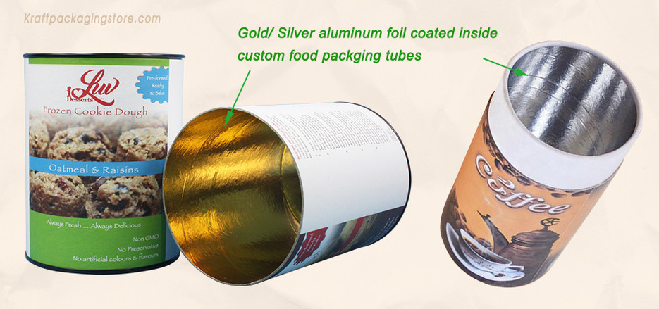 Paper tube food packaging with aluminum foil coated