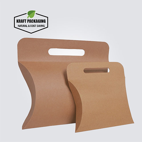 Large Brown Kraft Paper Pillow Boxes With Handle Wholesale