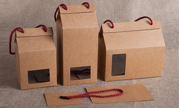 Kraft paper boxes with window and rope handle