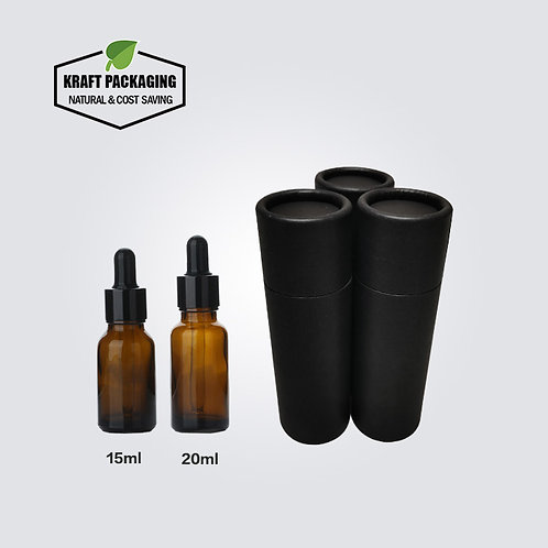 Black Kraft Paper Cardboard Tube Packaging Suit for 15ml 20ml Dropper Bottles